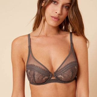 Full cup plunge bra - Smoky