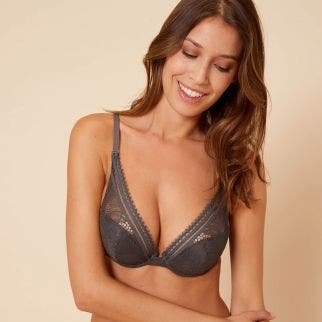 Triangle push-up bra - Smoky