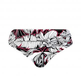 Culotte de bain taille haute - Noir et Rose