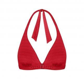 Haut de maillot de bain triangle sans armatures - Rouge tresse