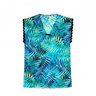 Tunique de bain - imprimé vert/bleu