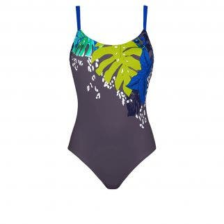 Non-wired one-piece swimsuit - Imprimé Taupe Bleu