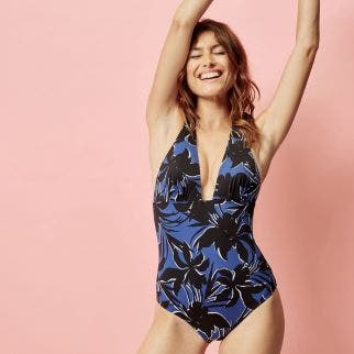 Wireless one-piece swimsuit - Noir/Pacific