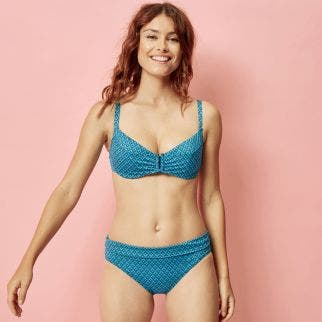 High-waist bikini brief - Lagon / bleu paon