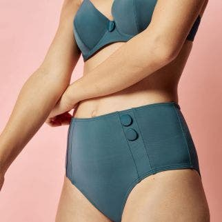 High-waist bikini brief - Bleu paon