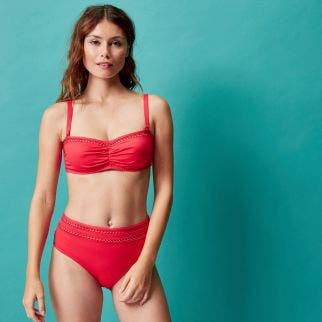 Underwired bandeau bikini top - Red