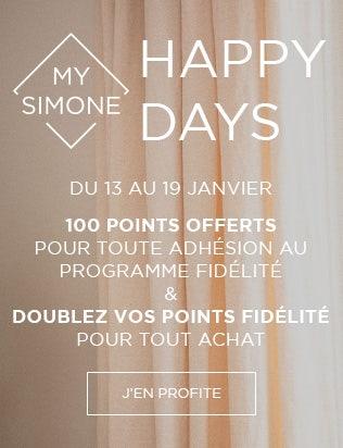 HAPPY DAYS : du 13 au 19 janvier, 100 points offerts pour toute adhésion au programme de fidélité My Simone et doublez vos points fidélité pour tout achat | Simone Pérèle